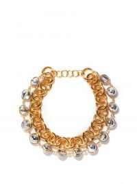 JIL SANDER Silver and gold-tone metal chain necklace / chunky statement necklaces / women's designer jewellery