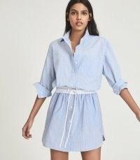 REISS MIA STRIPED SHIRT DRESS BLUE ~ casual cotton curved hem dresses