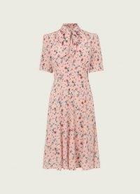 L.K. BENNETT MIKA PINK SCATTERED ROSE PRINT SILK TEA DRESS / feminine vintage style dresses / women's retro clothing