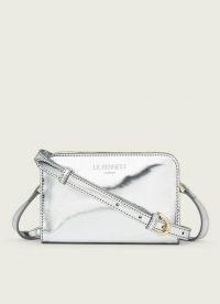 L.K. BENNETT MINI MARIE SILVER METALLIC SHOULDER BAG ~ luxe style cross body bags