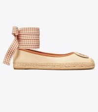 Tory Burch MINNIE BALLET ESPADRILLE LEATHER | cream ballerinas with removable brown gingham ankle tie | luxe flats