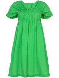 Molly Goddard Izadora ruffled dress ~ bright green gathered detail dresses