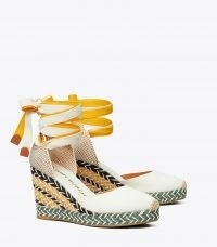 Tory Burch MULTICOLORED WRAP ESAPDRILLE | canvas ankle tie wedge espadrilles | summer wedges