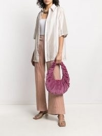 Nanushka Anja ruched velvet shoulder bag in peony-purple ~ luxe fabric bags