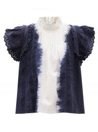 SEA Everlyn ruffled tie-dye cotton-poplin blouse / romantic ruffle trim high neck tops