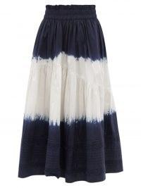 SEA Everlyn tie-dye cotton-poplin midi skirt / women's navy and white cotton summer skirts