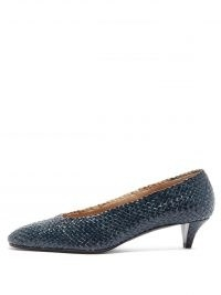 THE ROW Lady D navy woven-leather pumps / dark blue low cone heel court shoes / handwoven courts / womens high vamp footwear