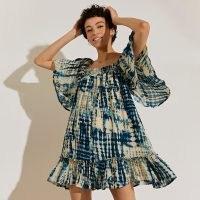 RIVER ISLAND Navy short sleeve shirred tie dye mini dress / floaty square neck frill hem summer dresses / feminine fashion