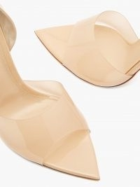 GIANVITO ROSSI Bree 105 PVC and patent-leather pumps – beige clear strap high heels – point toe stilettos