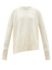 PETAR PETROV Enda ivory asymmetric cashmere sweater ~ womens luxe sweaters ~ women's high low hem crew neck jumpers ~ designer knitwear