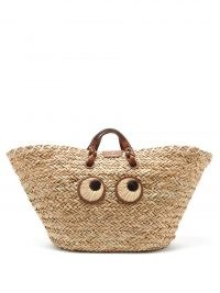 ANYA HINDMARCH Eyes large seagrass-woven basket bag / cute summer baskets / womens top handle holiday bags