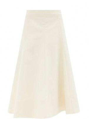 JIL SANDER Gored cotton-twill midi skirt ~ cream classic style skirts - flipped