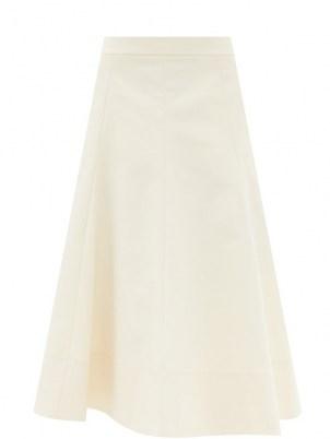 JIL SANDER Gored cotton-twill midi skirt ~ cream classic style skirts