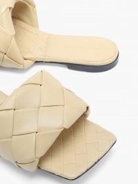 BOTTEGA VENETA The Lido Intrecciato beige leather slides / womens luxe woven slide / women's designer sliders / weave design flats / chic square toe flat shoes