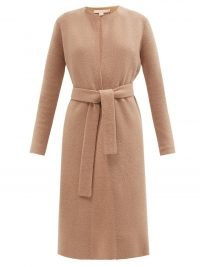 BROCK COLLECTION Tiberia belted wool-blend cardigan ~ chic brown longline open front cardigans with belted self tie waist