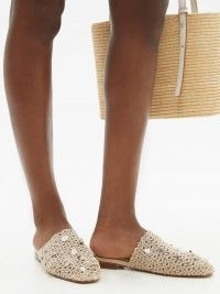ZYNE Tulum shell-embellished crochet backless loafers / women's ocean inspired loafer flats / shells on summer shoes