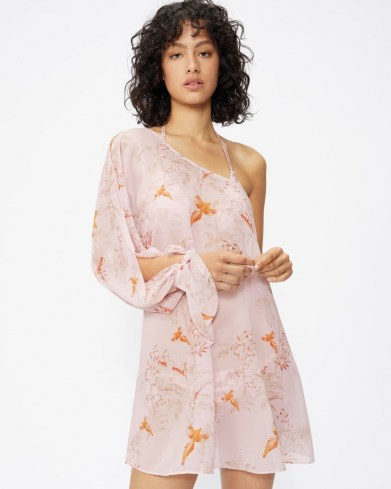TED BAKER KAACI One Shoulder Balloon Sleeve Cover Up – sheer printed cover ups – womens poolside fashion – beachwear - flipped