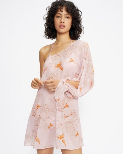 TED BAKER KAACI One Shoulder Balloon Sleeve Cover Up – sheer printed cover ups – womens poolside fashion – beachwear