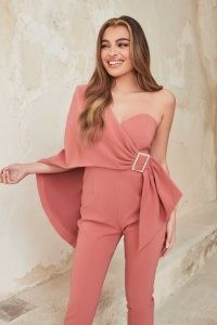 lavish alice one shoulder cape jumpsuit in dusty rose ~ pink luxe style evening jumpsuits
