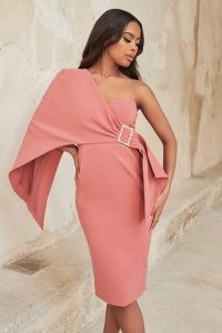 lavish alice one shoulder cape midi dress in rose pink | fitted bust pencil dresses | occasion glamour | womens party fashion