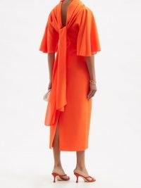 ROKSANDA Cowl-neck tie-back wool-crepe midi dress / elegant bright orange dresses / women's chic and vibrant clothing