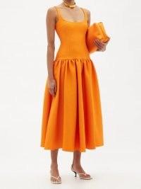 EMILIA WICKSTEAD Galen scoop-neck cloqué dress / bright orange sleeveless drop waist dresses