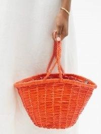 DRAGON DIFFUSION Jane Birkin small orange woven-leather basket bag / chic baskets / womens summer bags / braided top handle / artisan accessorirs