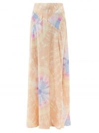 PACO RABANNE High-rise tie dye-print satin maxi skirt / long slinky bias cut skirts