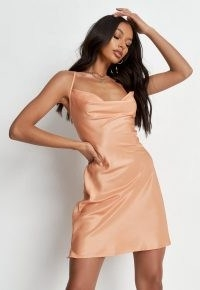 MISSGUIDED orange satin textured cowl cami dress / slinky skinny strap slip dresses