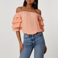 RIVER ISLAND Orange short frill sleeve bardot top / ruffled sleeve off the shoulder dresses