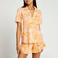 RIVER ISLAND Orange tie dye frill pyjamas set ~ women's shirt and shorts pyjama sets ~ womens nightwear