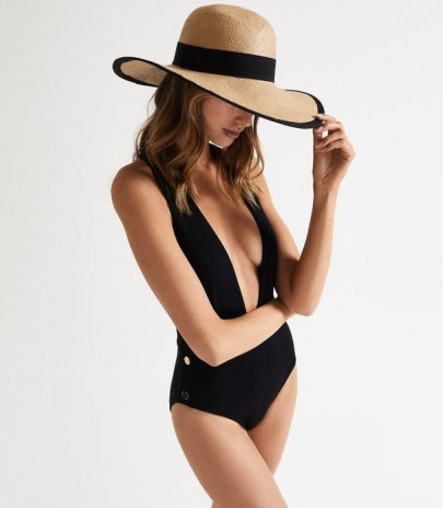 REISS ORLA PLUNGE SWIMSUIT WITH BUTTON DETAIL BLACK ~ plunging swimsuits ~ glamorous swimwear - flipped