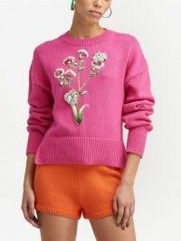 Oscar de la Renta pink floral-embroidered knitted jumper | women's bright crew neck drop shoulder jumpers