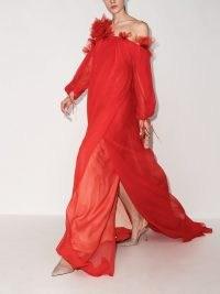 Oscar de la Renta red ruffle-detail one-shoulder silk dress ~ romantic floaty occasion gowns ~ flowing event dresses