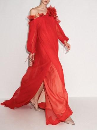 Oscar de la Renta red ruffle-detail one-shoulder silk dress ~ romantic floaty occasion gowns ~ flowing event dresses - flipped