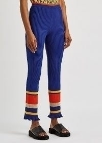 PACO RABANNE Blue striped ribbed-knit trousers – retro knitted pants