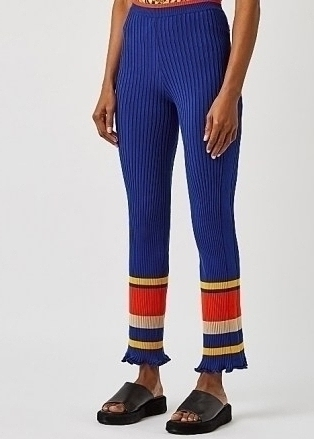 PACO RABANNE Blue striped ribbed-knit trousers – retro knitted pants - flipped