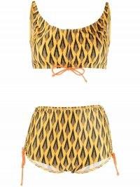 Paco Rabanne Ciao Paco geometric-print bikini – yellow and black retro slogan bikinis