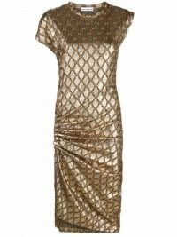 Paco Rabanne metallic asymmetric dress – glamorous gold side ruched dresses – evening glamour