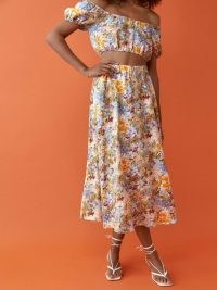 REFORMATION Palmas Linen Skirt / floral summer skirts