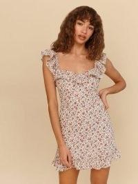 Reformation Paris Dress in Ronan – floral ruffle trim mini dresses