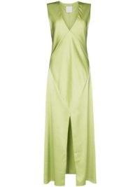 Paris Georgia Bettina sleeveless midi dress Pistachio Green ~ slinky vintage style evening dresses