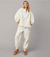 Tory Burch PATCHWORK ELASTIC-WAIST PANT / women's cuffed hem trousers