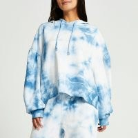 RIVER ISLAND Petite blue long sleeve tie dye hoody / women's pullover hoodies
