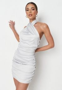 MISSGUIDED petite silver satin ruched halterneck dress ~ glamorous party dresses ~ going out glamour ~ halter neck evening fashion