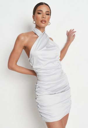 MISSGUIDED petite silver satin ruched halterneck dress ~ glamorous party dresses ~ going out glamour ~ halter neck evening fashion - flipped