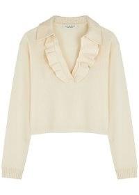 PHILOSOPHY DI LORENZO SERAFINI Cream ruffle-trimmed wool-blend jumper | feminine ruffled jumpers | luxe knitwear