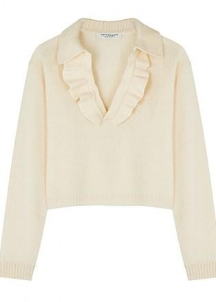 PHILOSOPHY DI LORENZO SERAFINI Cream ruffle-trimmed wool-blend jumper   feminine ruffled jumpers   luxe knitwear - flipped