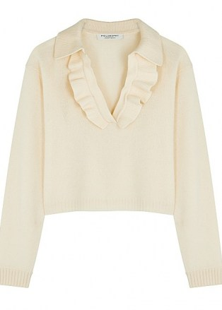PHILOSOPHY DI LORENZO SERAFINI Cream ruffle-trimmed wool-blend jumper   feminine ruffled jumpers   luxe knitwear