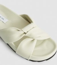Reiss PHOEBE LEATHER TWIST FRONT SANDALS OFF WHITE
